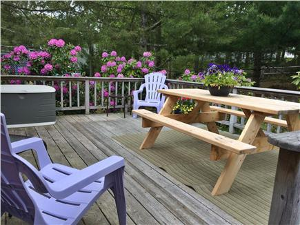 Chatham Cape Cod vacation rental - Deck has two more adirondack chairs, picnic table & Weber grill