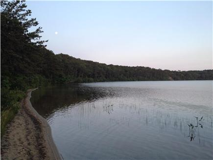 Wellfleet Cape Cod vacation rental - Gull Pond moon set in the early AM. (Taken from private beach.)