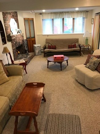 East Falmouth Cape Cod vacation rental - Family Room: futon bed, access to back yard and outdoor shower