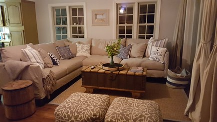 Barnstable Harbor Cape Cod vacation rental - Living room with sliders that open to second story deck