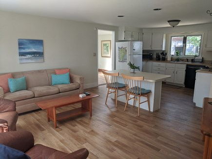 Falmouth Cape Cod vacation rental - Light and airy living room, breakfast island and kitchen.