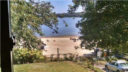 Wareham MA vacation rental - Grassy lawn down to the beach.