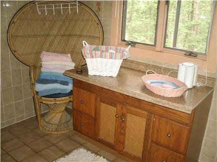 Wellfleet Cape Cod vacation rental - Bath has large storage and make-up table for extra space.