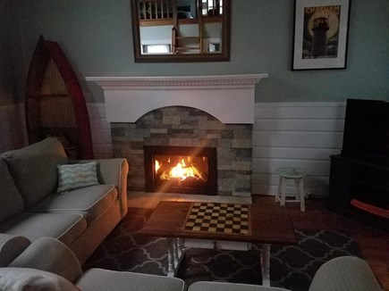 South Chatham Cape Cod vacation rental - Comfortable living room with flat panel tv and gas fireplace