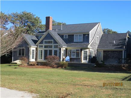 Dennis Cape Cod vacation rental - Very private Rear Yard w/brand new deck & sand-court volleyball