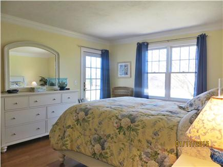 Dennis Cape Cod vacation rental - 1st floor Queen size Master Bedroom w/French Door to rear deck