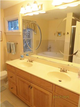 Dennis Cape Cod vacation rental - Master Bath w/walk in Tile Shower and Jacuzzi
