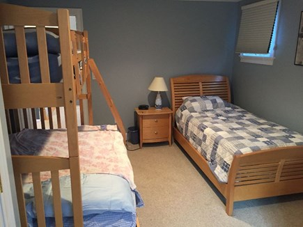 Popponesset, Mashpee Cape Cod vacation rental - Upstairs Bedroom 1 with full over twin bunk and sleigh bed