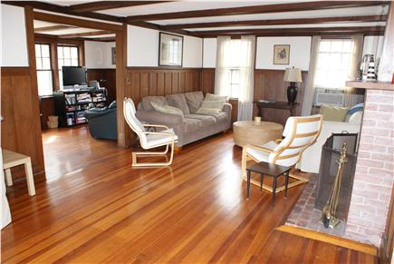 Bourne, Sagamore Beach Cape Cod vacation rental - Living Room opens to small Family Room, which opens to patio.