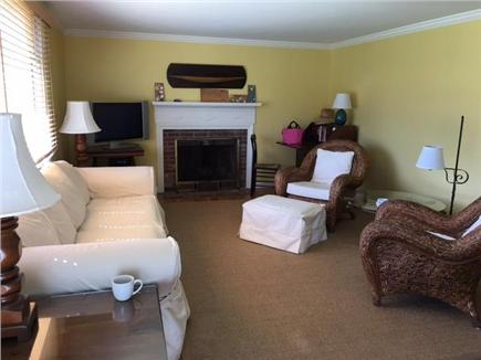 Harwichport Cape Cod vacation rental - Living room. Big bay window looks into front yard.