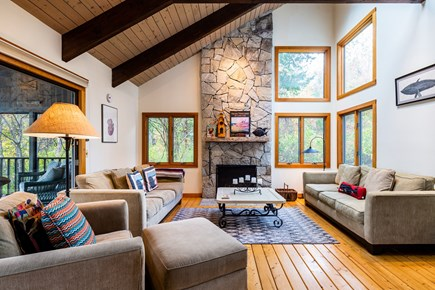 Orleans Cape Cod vacation rental - Wonderful vaulted living space with beautiful woodwork.