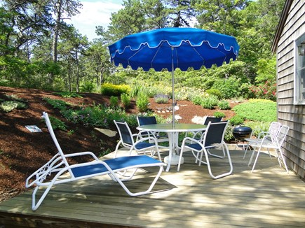Wellfleet Cape Cod vacation rental - Side deck, outdoor shower, and garden.