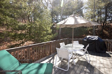 Truro Cape Cod vacation rental - Large back deck with grill, large outdoor dining and chaise