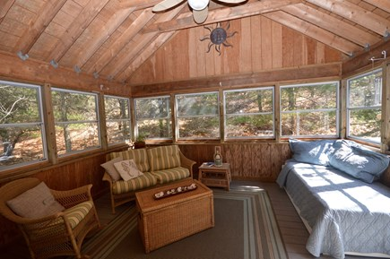 Truro Cape Cod vacation rental - Beautiful sunny deck with ceiling fan