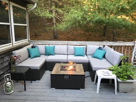 Truro Cape Cod vacation rental - New fire table and outdoor sectional seating for summer 2021
