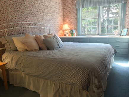 East Orleans Cape Cod vacation rental - Rose Room with king bed and built-in dresser on first floor.