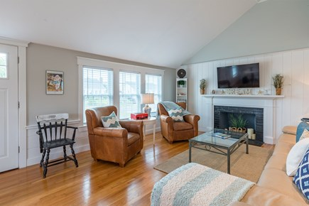 West Yarmouth Cape Cod vacation rental - Renovation photos from different angle outlining vaulted ceiling