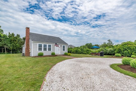 West Yarmouth Cape Cod vacation rental - Circular driveway and patio with seating for six