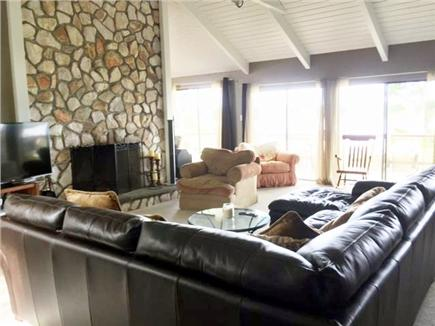 East Falmouth Cape Cod vacation rental - Open family room with flat screen, fireplace and water views