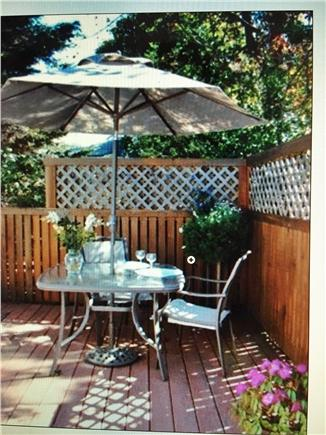 Hyannis Cape Cod vacation rental - Private deck behind the cottage