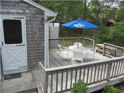 East Falmouth Cape Cod vacation rental - Deck (back door and outdoor shower also shown)