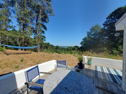 Wellfleet Cape Cod vacation rental - Granite Firepit on Deck and Hammock with View
