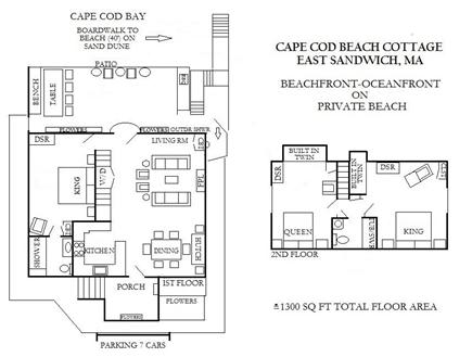 East Sandwich Cape Cod vacation rental - ˜ 1300 SQ FT Floor plan