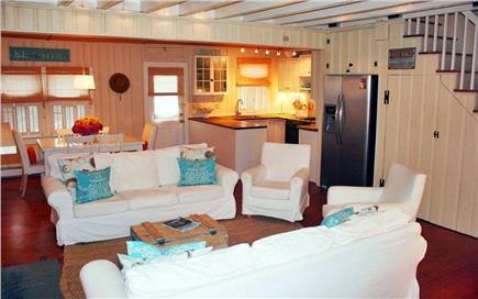 East Sandwich Cape Cod vacation rental - Relax in our great room - Living Room, Dining Area and Kitchen.