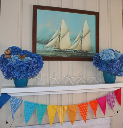 East Sandwich Cape Cod vacation rental - Living room mantel dressed for summer fun!