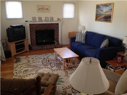 Dennis Port Cape Cod vacation rental - Large living room TV, wireless internet, stereo, dvd, bay window