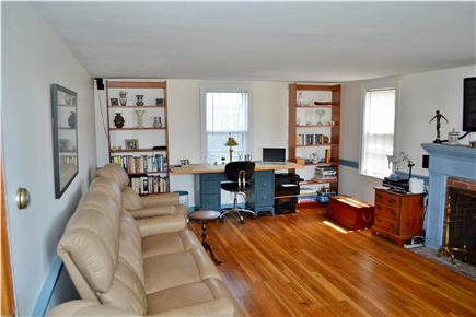 Chatham Cape Cod vacation rental - Living Room, Leather Couch & 2 Recliners, Desk
