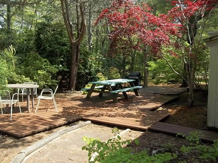 West Harwich Cape Cod vacation rental - Back Deck (with outdoor shower and gas grill)