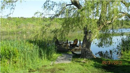 Hyannisport Cape Cod vacation rental - Dock area protected by our Willow tree