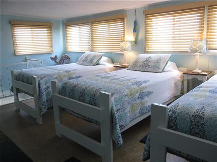 North Truro - Beach Point Cape Cod vacation rental - Loft bedroom with three twin beds (new mattresses in spring 2015)