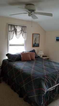North Eastham Cape Cod vacation rental - Bedroom, full-size bed & ceiling fan