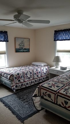 North Eastham Cape Cod vacation rental - Bedroom, three twin beds & ceiling fan