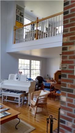 Wellfleet Cape Cod vacation rental - Living room, dining, and loft from front entry