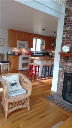Wellfleet Cape Cod vacation rental - Kitchen from living room; island with stools
