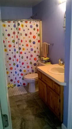 E. Harwich Cape Cod vacation rental - Common bathroom with full shower and tub.
