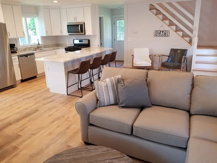 Harwichport Cape Cod vacation rental - 2nd home living room and kitchen, fantastic open floorplan!