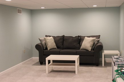 Dennisport Cape Cod vacation rental - Downstairs family room with a queen size pullout and large TV