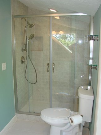 Provincetown Cape Cod vacation rental - Partial view of top floor bathroom showing shower