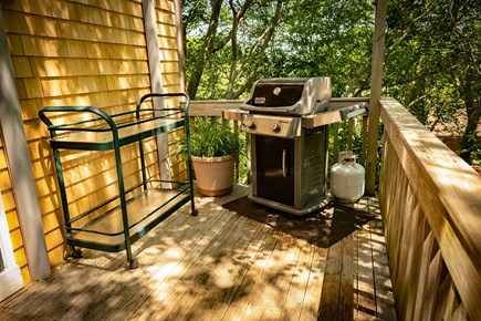 Provincetown Cape Cod vacation rental - Partial view of deck, entertainment table and grill