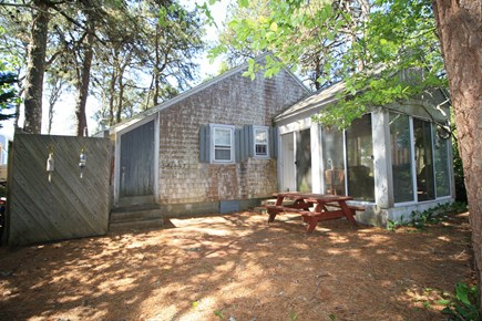 Dennis Port Cape Cod vacation rental - Rinse off in the outdoor shower or picnic on the bench in privacy
