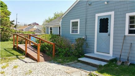 Barnstable Harbor Cape Cod vacation rental - Left entrance, driveway, ramp to deck, Updated to Gray