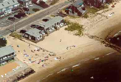 Dennis Port Cape Cod vacation rental - Aerial View of Our Oceanfront Home & Beach