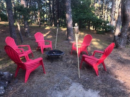 Wellfleet Cape Cod vacation rental - Fire Pit, 5 Adirondack Chairs and Tiki Torches.