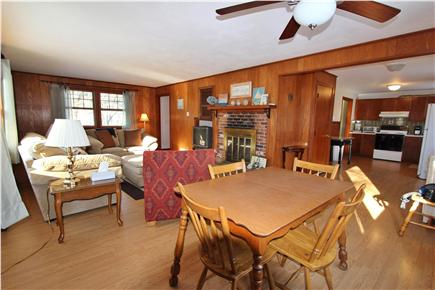 Eastham Cape Cod vacation rental - Living room, dining room and kitchen, all ready for guests.