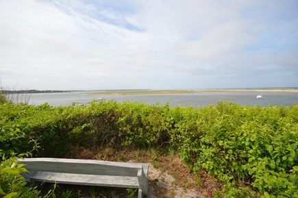 Orleans Cape Cod vacation rental - our own private bench overlooking everything - beach, coast guard