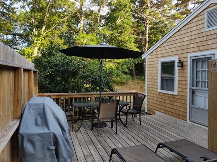 Wellfleet Cape Cod vacation rental - View from the back of the deck looking towards the driveway.